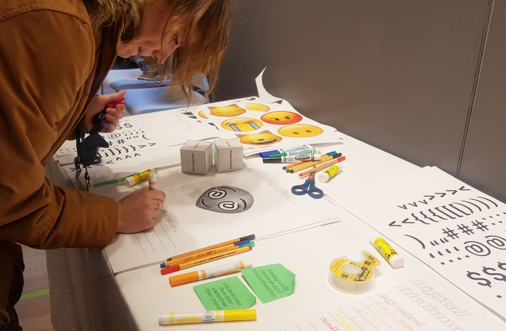 A participant take part in 'hi how r u' at RISD, November 2019